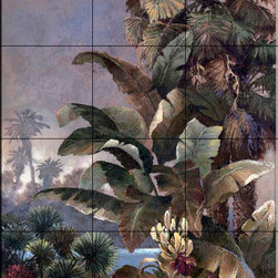 The Tile Mural Store (USA) - Tile Mural - Jl - Misty Palms Ii - Kitchen Backsplash Ideas - This beautiful artwork by James Lee has been digitally reproduced for tiles and depicts a wonderful water scene with palm trees.  With our enormous selection of tile murals of plants and flowers you can bring your kitchen backsplash tile project to life. A decorative tile mural with plants and flowers is an impressive kitchen backsplash idea and decorative flower tiles also work great in the bathroom. Add splashes of color and life to your tile project with images of flowers on tiles and tiles with pictures of plants.