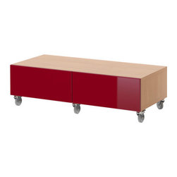 IKEA of Sweden - BESTÅ Bench with casters - Bench with casters, beech effect, high gloss red