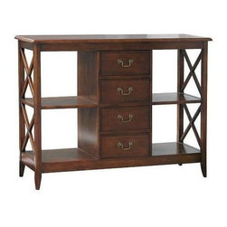 Wayborn - Eiffel Console Table w Drawers & Shelves - Wood console table from the Eiffel collection provides stylish display and storage. Rectangular top is almost four feet long and has two open display shelves on either side of the four center drawers with bail handles. Dark brown finish and open X-shape sides. 4 Drawers. 4 Shelves. Made from Birchwood. Smooth finish. Inside width of (4) shelves: 14 in. W x 14 in. D x 13 in. H. Each drawer: 12 in. W x 11.5 in. D x 5 in. H. Overall Dimensions: 47 in. W x 15 in. D x 35.5 in. H (80 lbs.)