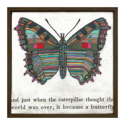 Kathy Kuo Home - Colorful Butterfly Reclaimed Wood Art Print Wall Art - Small - Transform your space with the bright color, whimsy and sentiment of this unique wall hanging. Each folk art piece is created by hand in Georgia using meaningful motifs and sweet statements, and is available in two sizes. This butterfly will change your room and may change your outlook.