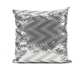 IMAX CORPORATION - Estradin Silver Sequin Chevron Pillow - Strikingly bold, this silver sequin chevron pillow adds shimmering brilliance and pattern to any modern glam or sophisticated space. Find home furnishings, decor, and accessories from Posh Urban Furnishings. Beautiful, stylish furniture and decor that will brighten your home instantly. Shop modern, traditional, vintage, and world designs.