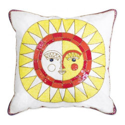 Côte d'Azur Sun Beaded Linen Throw Pillow - Is there anything more reminiscent of summer than the sun? I think not!