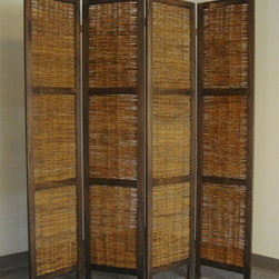 Proman Products - Bankok Decorative Folding Screen - Four panel screen. Handcrafted with rattan style willow decoration. Double swing hinges for flexible bending. Rich country style and textured design. Lightweight and sturdy. Can be used in any room of the home or office. Made from paulownia wood. Walnut brown finish. No assembly required. 60 in. W x 67.5 in. H