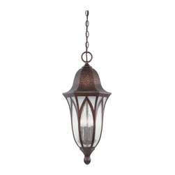 """Designers Fountain - 11"""" Hanging LanternBerkshire Collection - Featuring a boldly scrolled cast arm, vaulted arch style glass panels and a distressed hammered finish."""