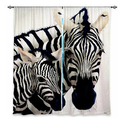 """DiaNoche Designs - Window Curtains Unlined - Will Bullas Madonna of the Serengeti - Purchasing window curtains just got easier and better! Create a designer look to any of your living spaces with our decorative and unique """"Unlined Window Curtains."""" Perfect for the living room, dining room or bedroom, these artistic curtains are an easy and inexpensive way to add color and style when decorating your home.  This is a tight woven poly material that filters outside light and creates a privacy barrier.  Each package includes two easy-to-hang, 3 inch diameter pole-pocket curtain panels.  The width listed is the total measurement of the two panels.  Curtain rod sold separately. Easy care, machine wash cold, tumbles dry low, iron low if needed.  Made in USA and Imported."""