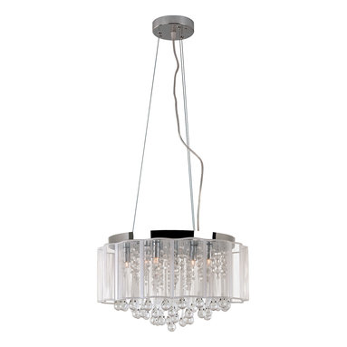 Veiled Pendant by Trans Globe - Veiled pendant features scalloped edges made of acrylic wire to create an outer veil. Round crystal bead strands within. Polished chrome finish. Also available in ceiling flush mount option. Supplied with (8) 35 watt, 120 volt, G9 halogen bulbs. 17W x 8H.