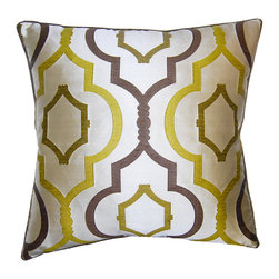 Square Feathers - Ornate Pillow, Green and Brown - Citron green will immediately catch your eye, and when paired with grounding brown, it's a match made in heaven. You could design a whole room around this color pairing.