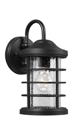Sea Gull Lighting - Sea Gull Lighting 8524401-12 Sauganash 1-Light Outdoor Wall Lantern in Black - The Sea Gull Lighting Sauganash 1-Light outdoor wall fixture in black enhances, the beauty of your property, makes your home safer, and more secure and increases the number of pleasurable hours you spend outdoors.