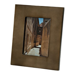 Kouboo - Picture Frame in Bronze Metallic Lacquerware, 4 x 6 - Frame your cherished photos with the look of precious metals with this bronze metallic lacquerware picture frame. The oversized frame draws attention to your favorite memories, and the neutral tones complement any room. Display alone, or group with other frames of varying sizes. This bronze metallic lacquerware frame also makes a thoughtful and unique gift. 1 year limited warrantyHand-crafted from lacquerwareHorizontal or vertical easel-back displayWipes clean with dry, soft clothWeighs 1.25 lb