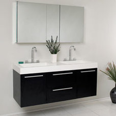 "54"" Fresca Opulento (FVN8013BW) Black Modern Double Sink Bathroom Vanity w/ Medi"