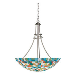 "Kichler - Contemporary Mosaic Art Glass 23 1/2"" Wide Pendant Light - This pendant chandelier is cheerful and artistic. Colorful translucent mosaic glass creates a wonderful look. The sleek and fluid frame gets a brushed nickel finish. A bright and attractive addition to bedrooms dining spaces and more. Multi-color mosaic glass. Brushed nickel finish. Takes three 100 watt bulbs (not included). 27"" high. 23 1/2"" wide. 101"" overall height. Hang weight 25.55lbs.  Brushed nickel finish.   Multi-color mosaic glass.   From the Kichler lighting collection.  Takes three 100 watt bulbs (not included).   27"" high.   23 1/2"" wide.   101"" overall height.   Hang weight 25.55lbs."