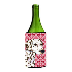 Caroline's Treasures - Dalmatian Hearts Love and Valentine's Day Portrait Wine Bottle Koozie Hugger - Dalmatian Hearts Love and Valentine's Day Portrait Wine Bottle Koozie Hugger Fits 750 ml. wine or other beverage bottles. Fits 24 oz. cans or pint bottles. Great collapsible koozie for large cans of beer, Energy Drinks or large Iced Tea beverages. Great to keep track of your beverage and add a bit of flair to a gathering. Wash the hugger in your washing machine. Design will not come off.
