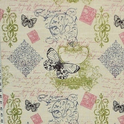 Butterfly Fabric Toile French Script Pink, Blue, and Green - A butterfly fabric. A butterfly fabric with toile, French script, and stamps. For those that want a pretty, French Paris apartment look fabric!