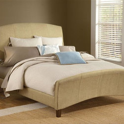 Hillsdale - Edgerton Upholstered Sleigh Bed Set in Beige - Choose Size: QueenIncludes Headboard, Footboard, and Rails. Mattress not included. Beige Tweed Upholstered. Assembly Required. Queen: HB - 65 in. W x 4 in. D x 55 in. H, FB - 65 in. W x 4 in. D x 26 in. H. King: HB - 65 in. W x 4 in. D x 55 in. H, FB - 65 in. W x 4 in. D x 26 in. HClassic comfort best describes the Edgerton upholstered bed. The gently arched headboard and footboard create clean lines that accentuate the sleigh silhouette. The beige tweed upholstery gives this piece a transitional quality and warmth that will work with a variety of home décors. Constructed from hardwood and wood composites.