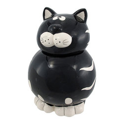 Zeckos - Adorable Black / White Tabby Cat Cookie Jar - This incredibly cute black and white striped cat ceramic cookie jar really livens up a kitchen. The cat has a beautiful glossy glaze and has a body that will carry a whole lot of cookies. The cat measures 9 1/2 inches tall, 6 1/2 inches wide and 6 1/2 inches deep. It makes a great gift for cat lovers.