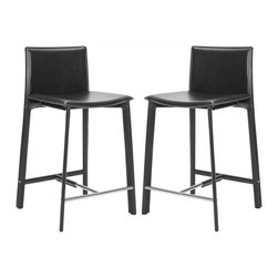 "Safavieh - Janet 24"" Counter Stool (Set Of 2) - Equal parts good looks and practicality, the 24 in Janet counter stool complements kitchens and family rooms designed for comfort and chic contemporary style. With slightly flared legs, stainless steel foot rails and an iron frame completely upholstered in black bonded leather, Janet will deliver years of active family service."