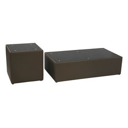 "Diamond Sofa - Steel Bonded Leather Cocktail & End Table 2PC Set with Glass Top - ""The Steel Collection by Diamond Sofa brings a chic, yet simplistically classy addition to any room's decor with this Mink Brown Leather Cocktail and End Table finished with a Black Oiled Glass Top. Functional for any room in the home, it oozes style and delivers fashionable function to your home's decor."