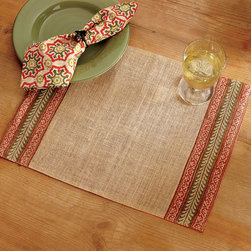 Origin Crafts - Masala stripe jute placemats set/4 - Masala Stripe Jute Placemats Set/4 Fall placemat is made from natural jute and features a block print design in warm harvest jewel tone colors. Inspired by world traditions, this placemat is a great way to add a spicy complement to your autumn dinnerware. Block print process means that each placemat