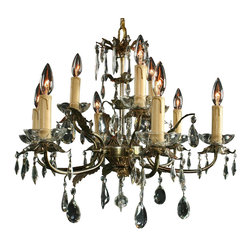 EuroLux Home - Consigned Vintage French Chandelier 9 Arms Leaf - Product Details