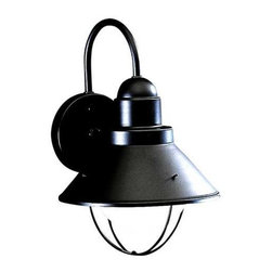 Kichler Lighting - Kichler Outdoor Wall Light in Black Finish - 9022BK - This outdoor wall light features a sleek nautical design and an attractive black finish. A conical metal shade is suspended from the circular backplate and surrounds a single bulb. Takes (1) 100-watt incandescent G40 bulb(s). Bulb(s) sold separately. CSA listed. Wet location rated.