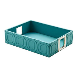 Global Views - Global Views Arabesque Trapunto Rectangle Tray in Turquoise - Trapunto, gives a raised relief of stitched design in our classic Arabesque pattern. These well scaled items are made with top grain, cowhide leather.