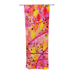 """Kess InHouse - Ebi Emporium """"Into the Fall"""" Orange Pink Decorative Sheer Curtain - Let the light in with these sheer artistic curtains. Showcase your style with thousands of pieces of art to choose from. Spruce up your living room, bedroom, dining room, or even use as a room divider. These polyester sheer curtains are 30"""" x 84"""" and sold individually for mixing & matching of styles. Brighten your indoor decor with these transparent accent curtains."""