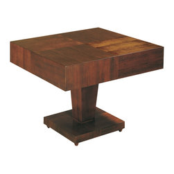 Allan Copley Designs - Allan Copley Designs Sarasota Square End Table with Pedestal Base in Walnut - The Sarasota Collection by Allan Copley designs features elegant, smooth lines and brings an appealing modern ambiance to the air. With its rich Walnut on walnut finish, the result is striking. It exudes a richness that will add style to your space. The Sarasota Collection includes Square Cocktail, Square End, Square Occasional, Console Table and Dining Table.