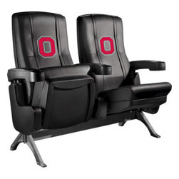 Dreamseat Inc. - Ohio State University NCAA Block O Row One VIP Theater Seat - Single - Please note: This item is the single chair, not multiple as shown in the photo. We do not have photos of an individual chair by itself. Check out this fantastic home theater chair. This is the same seat that is in the owner's VIP luxury boxes at the big stadiums. It has a rocker back and padded seat, so it's unbelievably comfortable - once you're in it, you won't want to get up. Features a zip-in-zip-out logo panel embroidered with 70,000 stitches. Converts from a solid color to custom-logo furniture in seconds - perfect for a shared or multi-purpose room. Root for several teams? Simply swap the panels out when the seasons change. This is a true statement piece that is perfect for your Man Cave, Game Room, basement or garage.