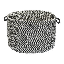 "Colonial Mills, Inc. - Outdoor Houndstooth Tweed, Black Utility Basket, 18""X12"" - From laundry and pool towels to books and toys, this handled basket helps you hold, hide and haul everything indoors or out. The braided polypropylene is stain and fade resistant in classic black and white houndstooth for long-lasting durability, versatility and adore-ability!"