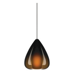 Tech Lighting - MO2Soleil Pendant brown, sn - Teardropshaped transparent colored glass that gently fades to clear. Amber, Havana Brown, and Olive Green are diffused by a matching colored inner glass. Smoke is diffused by white inner glass. Includes lowvoltage, 35 watt halogen bipin lamp and six feet of fieldcuttable suspension cable.