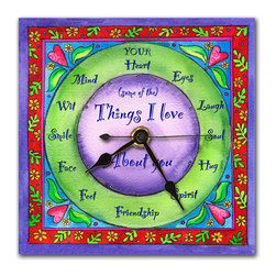 Things I Love About You Wall Clock - Our Things I Love About You Clock is the perfect gift for anyone you love, from your sweetheart, to your Mom or your kids, even a good friend. Made in our studio, a print of an original watercolor is dry mounted onto black foam board and heat-sealed with a protective laminate.It looks just like tile but is so light it can be hung on a pushpin, so there's no need to put a nail in your wall. It has a hanger on the back and comes in a gift box. The quartz movement runs on a single AA battery.