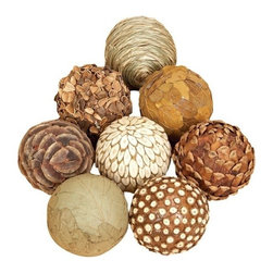 """Benzara - Set of 8 Natural Decorative Jungle Wood Balls - 3"""" D Set of 8 Natural Decorative Jungle Wood Balls. Assortment of 8 ball made from natural wooven bamboo. Each ball is 3 inch in diameter."""