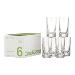 """Set of 6 Cordial Glasses - Stock up on drinkware essentials with this bargain box of classic cordials. Brilliant clear European glass qualifies as """"cristellin."""" Store in the reusable divided box (see additional photos)."""