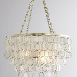 Aurora Capiz Shell Chandelier - This chandelier is natural and elegant with a touch of sophistication in the brass details.