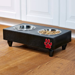 Frontgate - Multicolored Pet Feeder Dog Bed - Wood feeder with stainless-steel bowls. Decorative red paw applique. Matches other items from our Houndstooth Pet Collection. Our Houndstooth Pet Feeder provides small breeds with a simple and sturdy elevated feeding surface that can be particularly helpful for senior dogs. The wood-framed feeder comes with two 1-pint stainless-steel bowls.  .  .  .