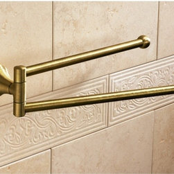 Gedy - 14 Inch Bronze Double Swivel Towel Bar - Vintage style 14 inch double towel bar or holder made in brass with bronze finish. 14 inch wall mounted double towel bar. Made of bronze finished brass. From Gedy Romance Collection.