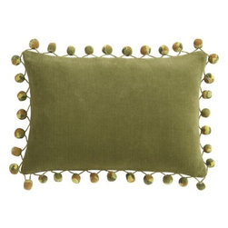 "pom pom camo 18""x12"" pillow - rah rah. Add some retro pep. Multicolored pom poms cheer on velvety cotton oblong in Camo.- 100% cotton velvet- Feather-down insert- Hidden zipper closure- Dry clean- Made in India- See dimensions below"