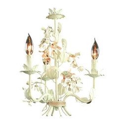 """Pre-owned Vintage 3-Arm French Chandelier Metal Floral - Here's that perfect rustic, funky vintage French chandelier for your shabby or cottage style décor! This 1950s chandelier features a trio of metal arms decorated with a profusion of pinkish blossoms and leaves. Are those cherry blossoms? Apple? Whatever, they're all neatly """"tied"""" together at the bottom with a piece of """"twine."""" This sensational piece boasts all the patina you love to see in these cottage style items. Picture it hanging over your kitchen table at the summer cottage, or get creative and hang it in your French Country boudoir. Fabulous, funky, and fun. Don't let this vintage light fixture get away!    From Ceiling 7.50H .    Overall Condition is Used - Good. Shows normal wear to the finish and miscellaneous nicks and dings due to age and use."""