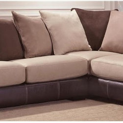 Chelsea Home - 2-Pc Newport Sectional Set - Includes right arm facing chaise and left arm facing sofa with toss pillows. Medium seating comfort. Reversible seat cushion. Nailed, stapled and corner blocked frame. Cover: Laredo mocha/searider hazelnut. Fabric content: 22% TC, 5% polyurethane, 73% poly vinyl chloride. 1.8 dacron wrapped foam cores with outside padding on arms and back for added comfort. Constructed with sinuous springs to provide no sag seating. Made from solid hardwoods and plywoods. Made in USA. No assembly required. Chaise: 91 in. L x 38 in. W x 38 in. H (175 lbs.). Sofa: 81 in. L x 38 in. W x 38 in. H (125 lbs.). Overall: 119 in. - 91 in. L x 38 in. W x 38 in. H (300 lbs.)