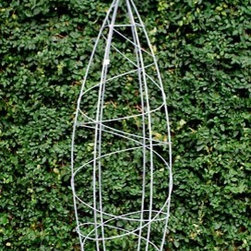 Galvanized Web Obelisk Topiary Form - This topiary has great surface area for climbers and looks like a rocket ship ready to take off.