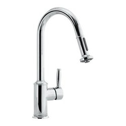 Hansgrohe Single Handle Pullout Spray Kitchen Faucet - Great, contemporary looks in a decent price point make this kitchen faucet a good choice in a contemporary kitchen project. Nice looking integrated spray.