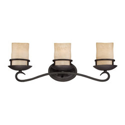 "Designers Fountain - Designers Fountain 84703-NI Laundernhill Transitional Bathroom Light - Hand forged iron feel is the essence of thisrustic but refined design with the captured""column style candle"" glass shade."