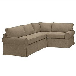"""PB Basic Left 3-Piece Small Sectional Slipcover, everydaysuede(TM) Pewter - Designed exclusively for our PB Basic Sectional, these easy-care slipcovers have a casual drape, retain their smooth fit, and remove easily for cleaning. Select """"Living Room"""" in our {{link path='http://potterybarn.icovia.com/icovia.aspx' class='popup' width='900' height='700'}}Room Planner{{/link}} to select a configuration that's ideal for your space. This item can also be customized with your choice of over {{link path='pages/popups/fab_leather_popup.html' class='popup' width='720' height='800'}}80 custom fabrics and colors{{/link}}. For details and pricing on custom fabrics, please call us at 1.800.840.3658 or click Live Help. All slipcover fabrics are hand selected for softness, quality and durability. {{link path='pages/popups/sectionalsheet.html' class='popup' width='720' height='800'}}Left-arm or right-arm configuration{{/link}} is determined by the location of the arm on the love seat as you face the piece. This is a special-order item and ships directly from the manufacturer. To view our order and return policy, click on the Shipping Info tab above."""