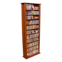 """Venture Horizon - VHZ Entertainment Large Single Multimedia Storage Rack - Features: -Adjustable shelving.-Lighter & less expensive than the competition.-Choose to assemble any tower with or without the decorative top molding depending upon the look you want.-Media storage of 754 CDs, 312 DVDs, 176 VHS, or 152 oversized (Disney) VHS.-Number of Shelves: 11.-Material: Wood composites and MDF.-Distressed: No.-Collection: VHZ Entertainment.-Country of Manufacture: United States.Dimensions: -Cubbies measure 8.25'' H x 8.25'' W x 6.5'' D.-Overall Height - Top to Bottom: 76"""".-Overall Width - Side to Side: 28"""".-Overall Depth - Front to Back: 9.5"""".-Overall Product Weight: 40 lbs."""