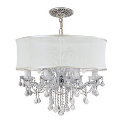 Crystorama - Crystorama Brentwood Chandelier X-MLC-WMS-HC-9844 - This isn't your Grandmother's crystal. The Brentwood Collection from Crystorama offers a nice mix of traditional lighting designs with large tailored encompassing shades. Adding either the Harvest Gold or the Antique White shade to these best selling skus opens the door to possibilities for these designer friendly chandeliers. The Brentwood Collection has a touch of design flair that will work for your traditional or transitional home.