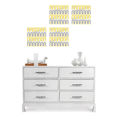Aztec Diamond Blox by Jonathan Adler for WallPops - Sassy yellow wall decals with metallic accents by Jonathan Adler for WallPops