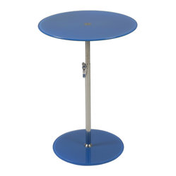 Radinka Side Table-Blu - When you place a lamp on this fantastic side table, the lamp just shines … literally and figuratively. The circular top and base are beautiful bookends to the slender column, which work to present any displayed item in its best light.