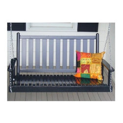Dixie Seating - Slat Porch Swing (Black) - Finish: BlackEnjoy warm summer evenings and bring a touch of romance and charm to your front porch or patio with this slat style swing, a classic swing that will easily become a favorite spot when the weather is right. Made of wood in your choice of finishes, the swing is designed to hang from an existing support. Classic adult slat porch swing. Made of solid ash hardwood. Made in the USA. Pictured in Black finish. Ready to assemble format. Minimum assembly required. Underside is unsanded. Weight Capacity: 350 lbs.. 48 in. W x 26 in. D x 25 in H
