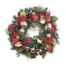 Village Lighting - Scarlet Hydrangea LED Wreath - Stunning and lifelike PVC and PE greenery accented by gorgeous scarlet hydrangea blossoms, along with textured red and golden balls give a subtle sheen to this timeless wreath. Features our exclusive Nun-Chuck battery and Super Mini lighting system.