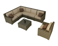 Forever Patio - Hampton 8 Piece Wicker Patio Sectional Set, Heather Wicker and Beige Cushions - The Forever Patio Hampton 8 Piece Patio Wicker Sectional Set with Cream Sunbrella cushions (SKU FP-HAM-8SEC-HT-AC) is sure to be the center of your next outdoor get-together. The set seats 6 to 7 adults comfortably, and features Heather resin wicker, which is made from High-Density Polyethylene (HDPE) for outdoor use. Each strand of this outdoor wicker is infused with natural color and UV-inhibitors that prevent cracking, chipping and fading ordinarily caused by sunlight, surpassing the quality of natural rattan. Each piece features thick-gauged, powder-coated aluminum frames that make the set extremely durable. Also included with the set are fade- and mildew-resistant Sunbrella cushions. The comfort and quality of this outdoor sectional set will make you feel like your living room has moved outdoors.